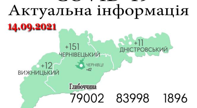 За минулу добу, 13 вересня, на Буковині зафіксовано 174 нових випадки зараження коронавірусом