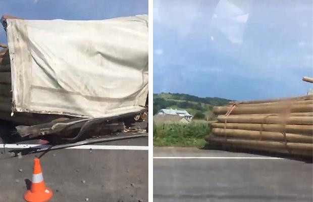 По трасі Чернівці-Тереблече перевернулася вантажівка з лісом