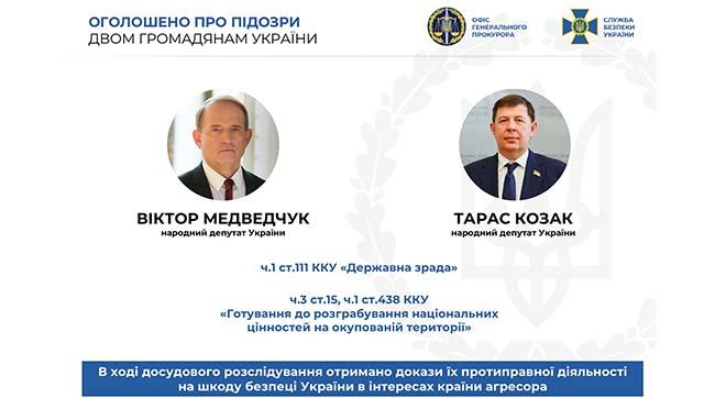 Нардепам Медведчуку та Козаку оголошено про підозру за державну зраду